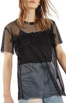 Topshop Ruffle Mesh Shirt