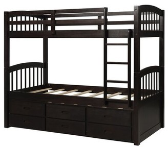 Harriet Bee Janella Twin Over Twin Bunk Bed with Trundle and 3 Drawers Bed Frame Color: Espresso