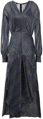 Maje Asymmetric Metallic Crochet-knit Midi Dress
