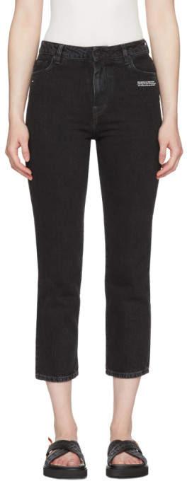 Off-White Off White Black Crop Belt Tight Jeans