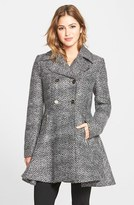 Laundry by Shelli Segal Women's Chevron Twill Double Breasted Skirted Coat