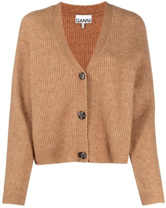 Ganni Ribbed-Knit Cropped Cardigan