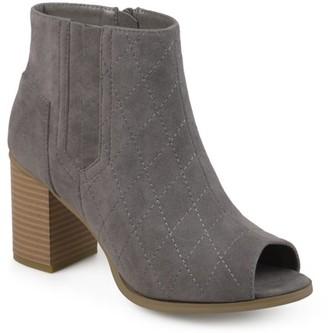 Brinley Co. Womens Stacked Heel Open Toe Quilted Booties