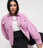 Asos DESIGN Curve oversized acid washed jacket in pink