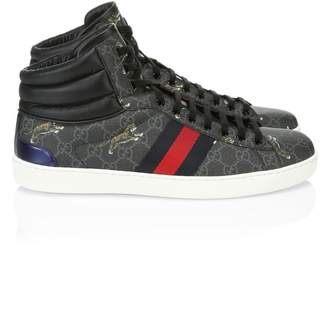 Gucci Ace Tiger Print High-Top Sneakers