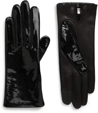Agnelle Angelle Patent Lambskin Leather Gloves