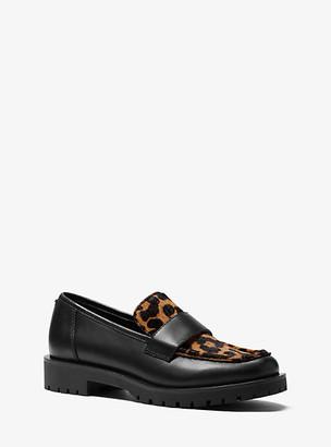 MICHAEL Michael Kors MK Holland Leopard Print Calf Hair and Leather Loafer - Black/natural - Michael Kors