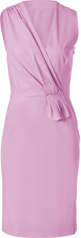 Ports 1961 Lilac Draped Wool-Blend Sheath Dress