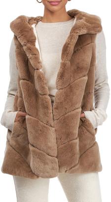 Yves Salomon Chevron Rex Rabbit Hooded Vest