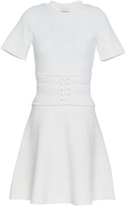 Sandro Brandy Lace-up Two-tone Stretch-knit Mini Dress