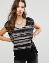 Religion Stripe Short Sleeve Top
