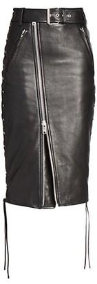 Balenciaga Biker Leather-Front Skirt