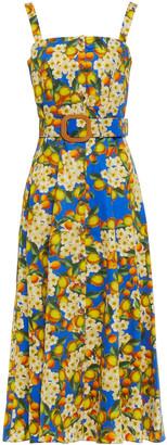 Borgo de Nor Camilla Belted Floral-print Cotton-poplin Midi Dress
