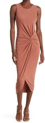 Vanity Room Twist Front Sleeveless Jersey Midi Dress