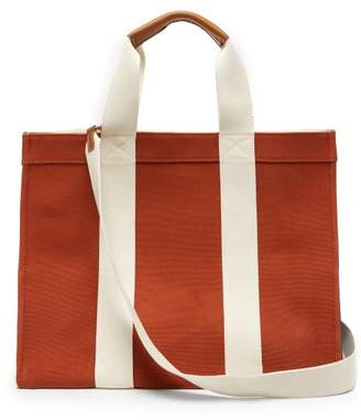 Rue De Verneuil - Tote Large Leather-trimmed Canvas Bag - Womens - Dark Orange