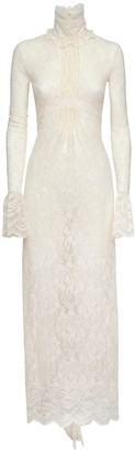 Paco Rabanne Stretch Lace Jersey High Neck Long Dress