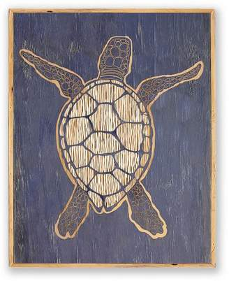 Pottery Barn Sea Turtle Carved Wood Wall Art