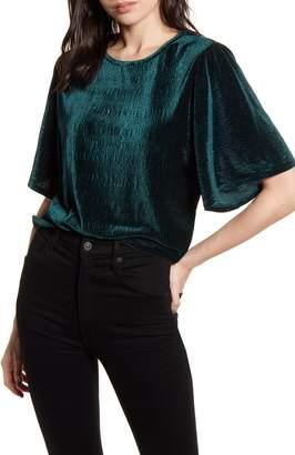 Madewell Crinkle Velvet Flutter Sleeve Top