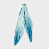 Paul Smith Women's Light Turquoise And Petrol Dip-Dye Cashmere-Silk Scarf