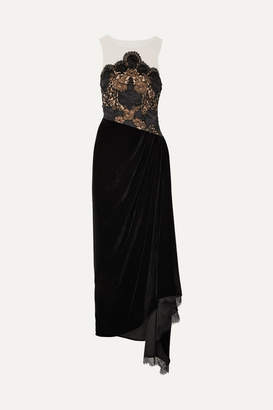 Reem Acra Charmeuse-trimmed Lace, Velvet And Tulle Gown - Black