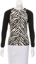 Blumarine Zebra Print Embroidered Sweater