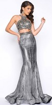 Mac Duggal Metallic Two Piece Beaded Prom Dress