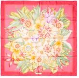 """Salvatore Ferragamo Women's Vintage Pink Floral Silk Scarf, 34"""" x 34"""""""