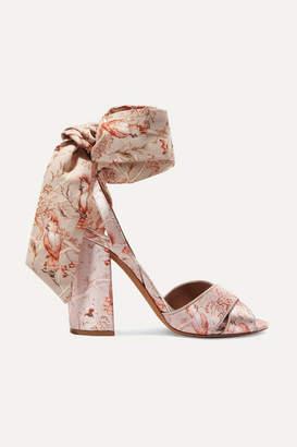 Tabitha Simmons Johanna Ortiz Connie Printed Silk-satin And Crepe De Chine Sandals - Antique rose