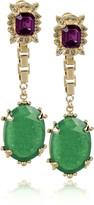 Gold-plated jade drop earrings