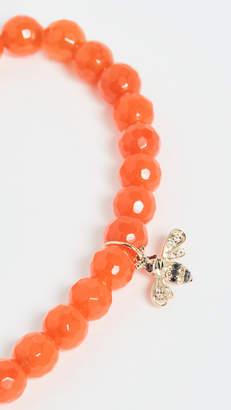 Sydney Evan 14k gold Orange Beaded Bee Charm Bracelet