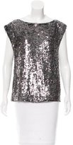 Alice + Olivia Silk Sequined-Embellished Top