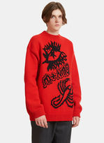 Stella Mccartney Oversized Graphic Jacquard Knit Sweater In Red