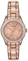 Citizen Ladies Silhouette Crystal Swarovski Crystal Pink Goldtone Bracelet Watch