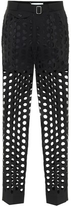 Maison Margiela Perforated crepe mid-rise pants