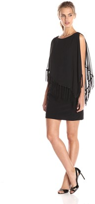 Xscape Evenings Women's Fringe Hem Chiffon Overlay Dress