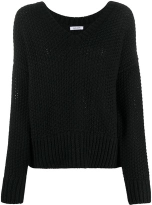 P.A.R.O.S.H. V-neck open-knit jumper