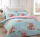 Kate Cotton Flannelette Double Quilt Duvet Cover and 2 Pillowcases Duck Egg Blue and Pink Floral Bedding Bed Set, Blue