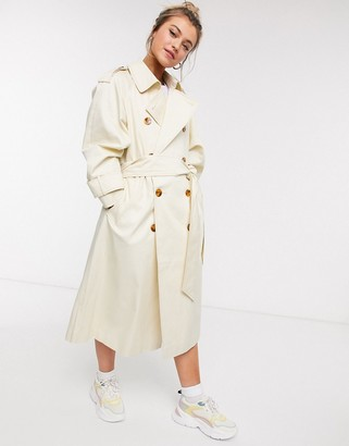 ASOS DESIGN longline trench coat with statement buttons in cream