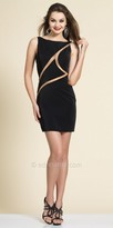 Dave and Johnny Open Back Asymmetrical Illusion Cocktail Dress