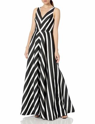 Halston Women's Sleeveless V-Neck Striped Jacquard Gown