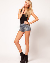 Asos Denim Hotpants with Studded Embroidery