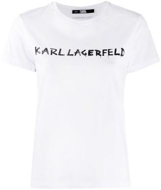 Karl Lagerfeld Paris graffiti logo print T-Shirt