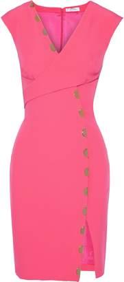 Versace Wrap-effect Embellished Cady Mini Dress