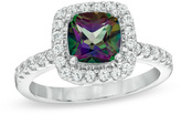 Zales 7.0mm Mystic Fire® Topaz and Lab-Created White Sapphire Frame Ring in Sterling Silver - Size 7