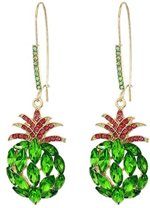 Betsey Johnson Pineapple Sheppard Hook Earrings (Green) Earring