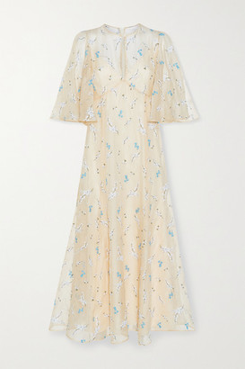 Erdem Alcie Embroidered Silk-organza Midi Dress - Cream