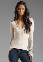 Enza Costa Cashmere Colorblock Cuffed V Neck Sweater