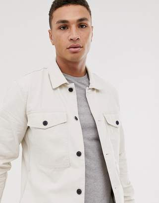 Abercrombie & Fitch military twill overshirt in camel-Beige