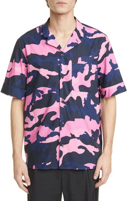 Valentino Camo Short Sleeve Button-Up Camp Shirt