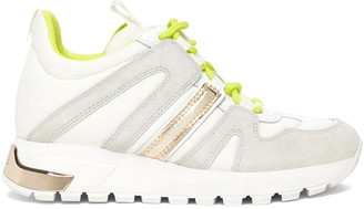DKNY Women's Sneakers H7W:WHITE/NEON - White & Neon Green May Leather Sneaker - Women